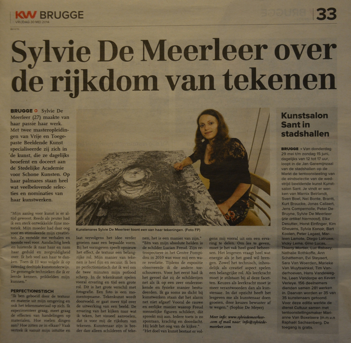 Interview with Sylvie De Meerleer on drawing, published in the 'Brugsch Handelsblad' (BE).