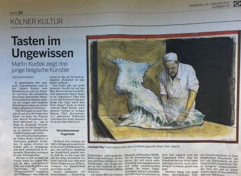 Article in the 'Kölner Kultur' on the Belgian three man show 'Sylvie De Meerleer – Gideon Kiefer – Birde Vanheerswynghels' at the Martin Kudlek Galerie, Cologne (DE)